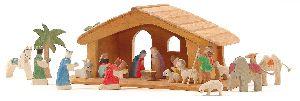 Creche de Noel en bois étable et figurine